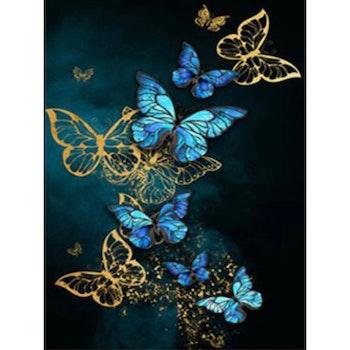 Diamanttavla Golden And Blue Butterflies 40x50