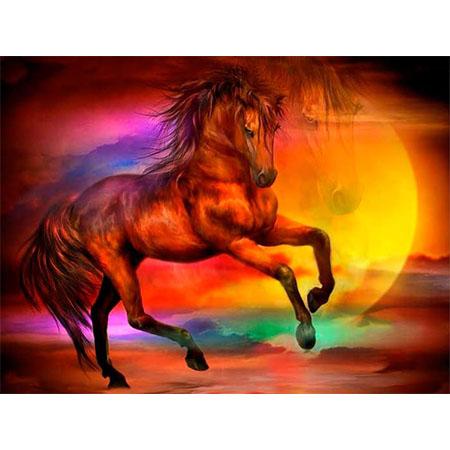 Diamanttavla (R) Sunset Sea Horse 50x70