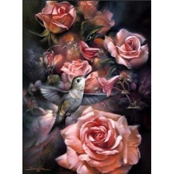 Diamanttavla Pink Roses And Bird 50x70
