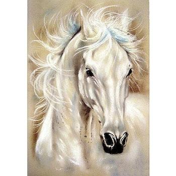 Diamanttavla Drawed White Horse 40x50