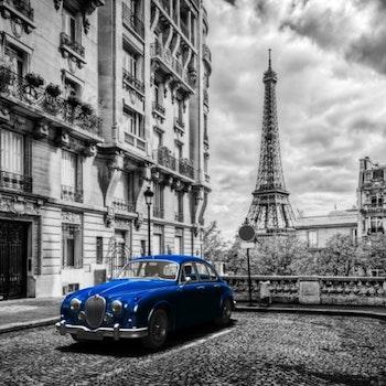 Diamanttavla Blue Car Paris 50x50