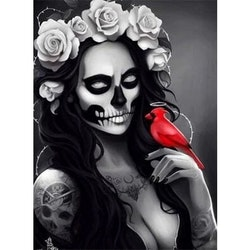 Diamanttavla Skull Beauty With Bird 40x50 - Leveranstid 1-3 Dagar