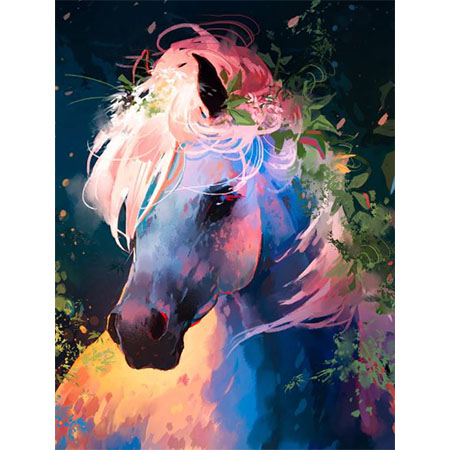 Diamanttavla Color Painted Horse 50x70 - Leveranstid 1-3 Dagar