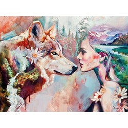 Diamanttavla Wolf And Woman 40x50