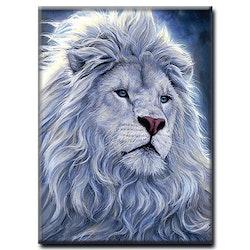 Diamanttavla White Lion 50x70