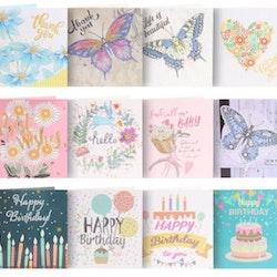 Födelsedagskort Blandade motiv 12-pack - Leveranstid 1-3 Dagar