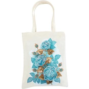 Diamanttavla Canvasväska Blue Roses 35x30 - Leveranstid 1-3 Dagar