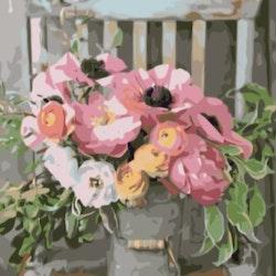 Paint By Numbers Blommor I Hink  50x70- Leveranstid 1-3 Dagar