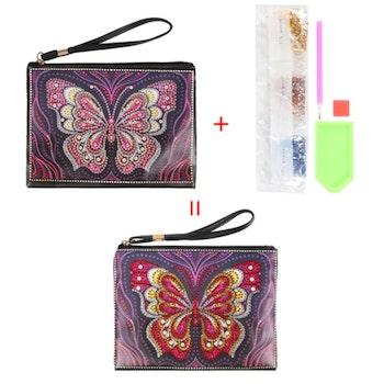 Diamanttavla Väska I Konstläder Butterfly Purple 15x20 cm