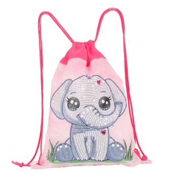 Diamanttavla Väska Ryggsäck Cute Elephant With Heart 31x37 cm - Leveranstid 1-3 Dagar