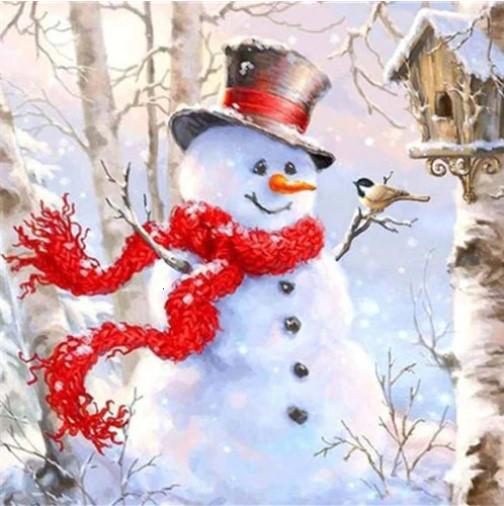 Diamanttavla Snowman Red Scarf 40x40 - Leveranstid 1-3 Dagar