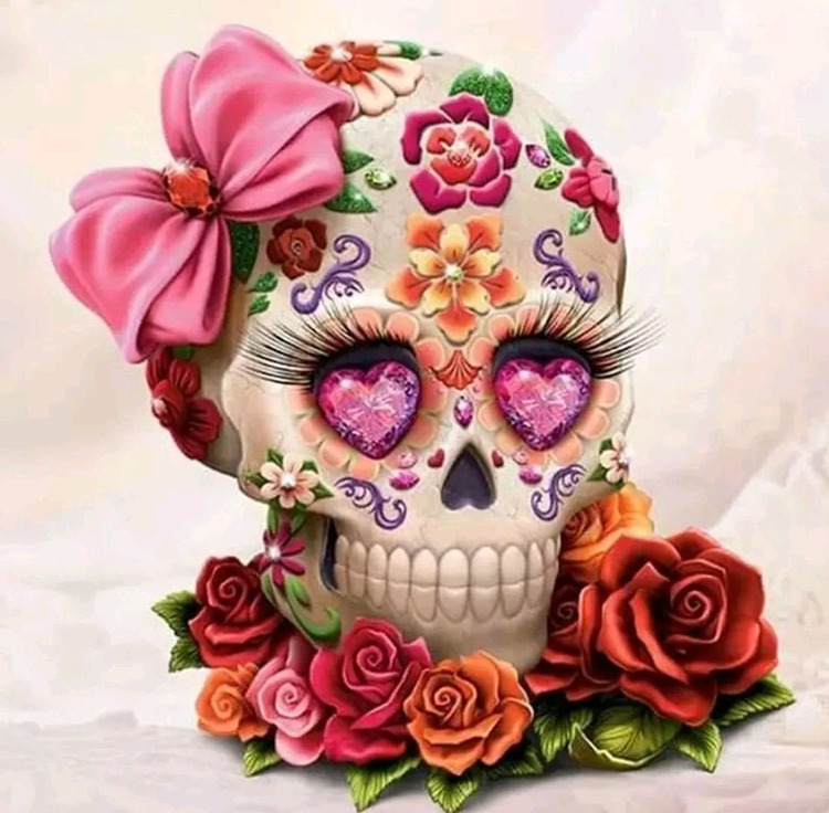 Diamanttavla Candy Skull Flowers 50x50