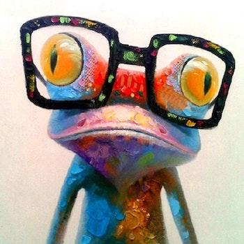 Diamanttavla Frog Glasses 40x40