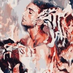 Paint By Numbers Tiger Man 50x70- Leveranstid 1-3 Dagar