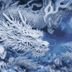 Paint By Numbers Blue Dragon 50x70- Leveranstid 1-3 Dagar