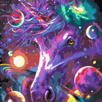 Paint By Numbers Galaxy Unicorn 50x70- Leveranstid 1-3 Dagar