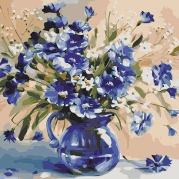 Paint By Numbers Blommor I Glaskanna 50x70- Leveranstid 1-3 Dagar