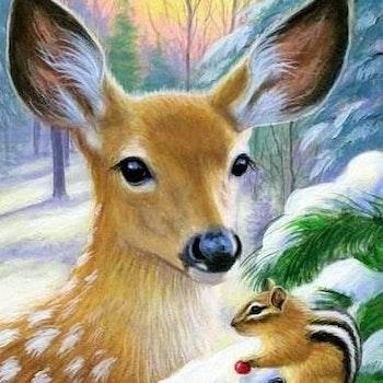 Diamanttavla Deer And Squirrel 40x50