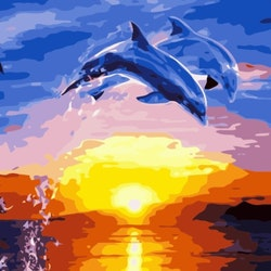 Paint By Numbers Jumping Dolphins 50x70 -Leveranstid 1-3 Dagar