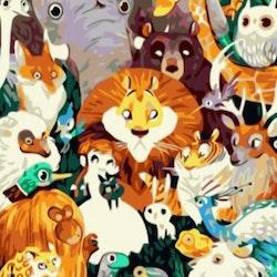 Paint By Numbers Djungel Animals 50x70 -Leveranstid 1-3 Dagar