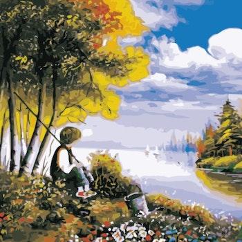 Paint By Numbers Fishing Boy 50x70 -Leveranstid 1-3 Dagar