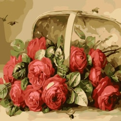 Paint By Numbers Rosor I Korg 50x70 -Leveranstid 1-3 Dagar