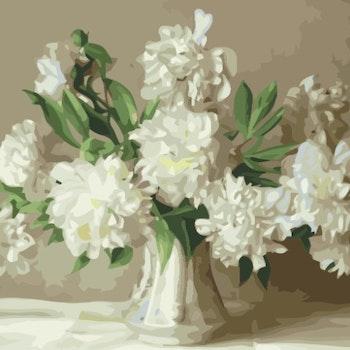 Paint By Numbers Vita Pioner I Glasvas 50x70 -Leveranstid 1-3 Dagar