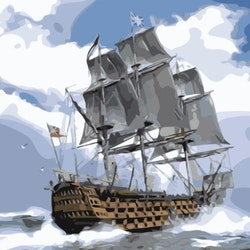 Paint By Numbers Ocean Ship 50x70 -Leveranstid 1-3 Dagar