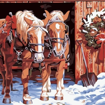 Paint By Numbers Christmas Horses 50x70 -Leveranstid 1-3 Dagar