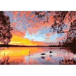 Paint By Numbers Sunset Lake 50x70 -Leveranstid 1-3 Dagar