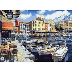 Paint By Numbers Båtar I Hamn 50x70 -Leveranstid 1-3 Dagar