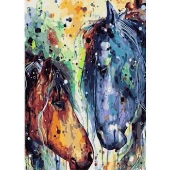 Paint By Numbers Watercolor Horses 50x70 -Leveranstid 1-3 Dagar