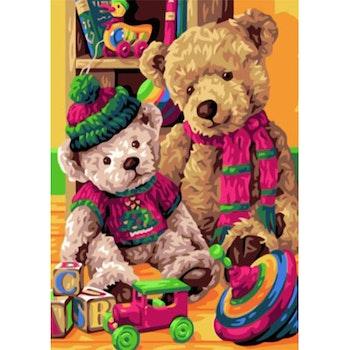 Paint By Numbers Teddy Toys 50x70 -Leveranstid 1-3 Dagar