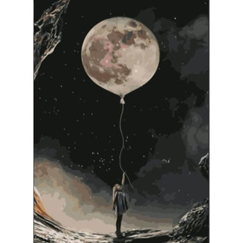 Paint By Numbers Moon Girl 50x70- Leveranstid 1-3 Dagar