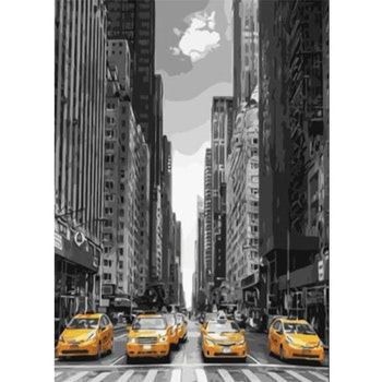Paint By Numbers City Cabs 50x70- Leveranstid 1-3 Dagar