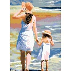 Paint By Numbers Mor Och Dotter Vid Havet 50x70- Leveranstid 1-3 Dagar