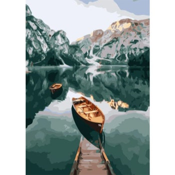 Paint By Numbers Mountain Lake 50x70- Leveranstid 1-3 Dagar