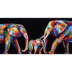 Diamanttavla Color Elephant Family 50x100 - Leveranstid 1-3 Dagar
