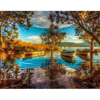 Diamanttavla Lake Landscape 50x70 - Leveranstid 1-3 Dagar