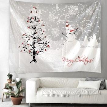 Gobeläng Tapestry Merry Christmas Snowman 150x130 cm - Leveranstid 1-3 Dagar