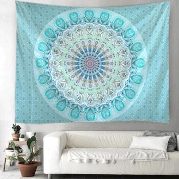 Gobeläng Tapestry Mandala Turqouise 150x150 cm - Leveranstid 1-3 Dagar