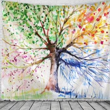Gobeläng Tapestry Watercolor Tree 150x150 Cm - Leveranstid 1-3 Dagar