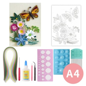 Quilling Flowers And Butterfly A4