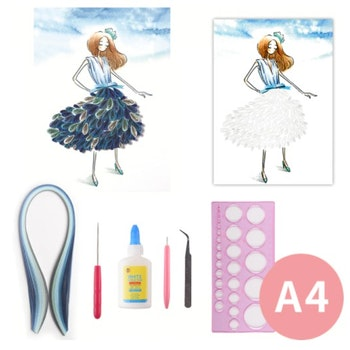 Quilling Woman Blue Dress A4