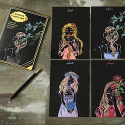 Scratch Painting Water 4-Pack Vykort Flowergirls  20x14 cm- Leveranstid 1-3 Dagar