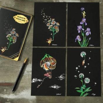 Scratch Painting Water 4-Pack Vykort Flowers 20x14 cm- Leveranstid 1-3 Dagar