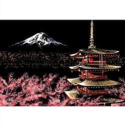 Scratch Painting Montain Fuji 41x28,7 cm - Leveranstid 1-3 Dagar