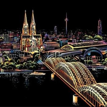 Scratch Painting Cologne Cathedral 41x28,7 cm - Leveranstid 1-3 Dagar