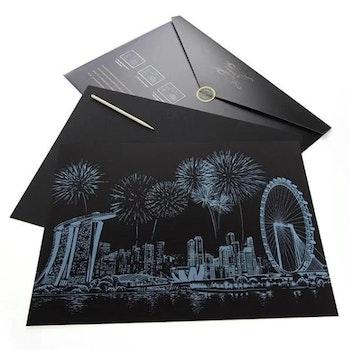Scratch Painting Singapore 41x28,7 cm - Leveranstid 1-3 Dagar