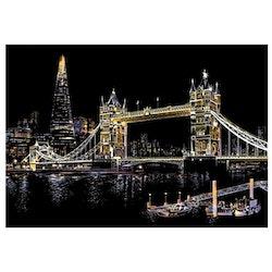 Scratch Painting London Tower Bridge 41x28,7 cm - Leveranstid 1-3 Dagar